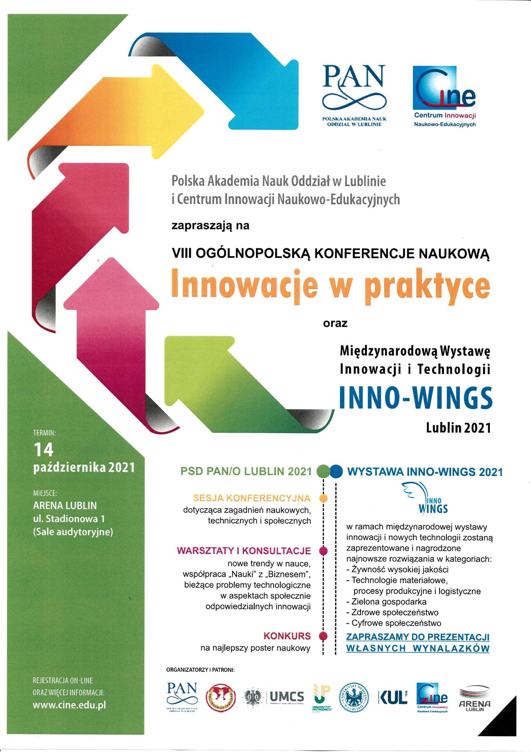 14 października 2021 VIII Ogólnopolska Konferencja Naukowa pt. INNOWACJE W PRAKTYCE oraz Międzynarodowa Wystawa Innowacji i Technologii INNO-WINGS